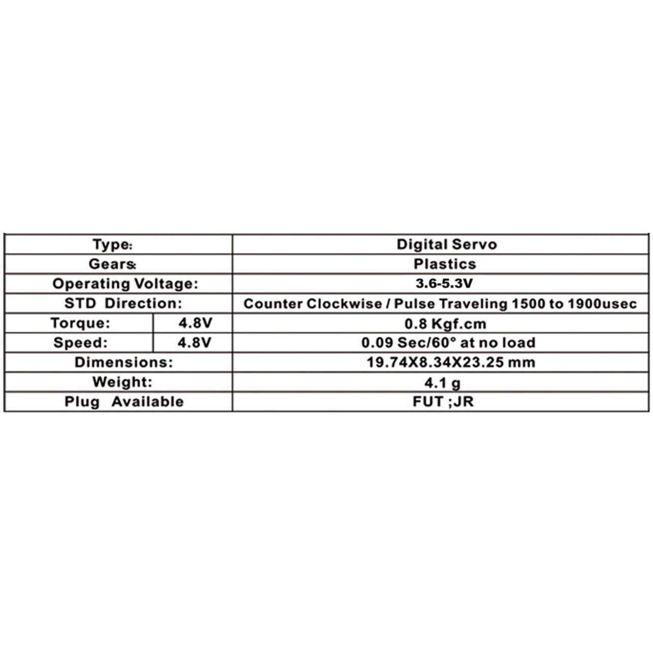 WOSOSYEYO EMAX Digital de Engranajes de pl/ástico Servo ES9051 4.8V 0,8 kg 0,09 seg 60 Grado de RC FPV ala Fija avi/ón helic/óptero Accesorios Color: Negro