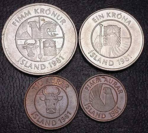 Unbranded Collection of 5X Iceland/Island Coins Date: 1981 AURAR & KRONUR
