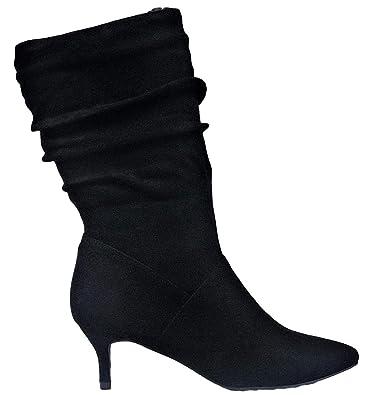 910a61169aea1 Glaze Ailing-2 Women Pointed Toe Mid Calf Slouchy Scrunchy Kitten Heel Booties  Boots Black