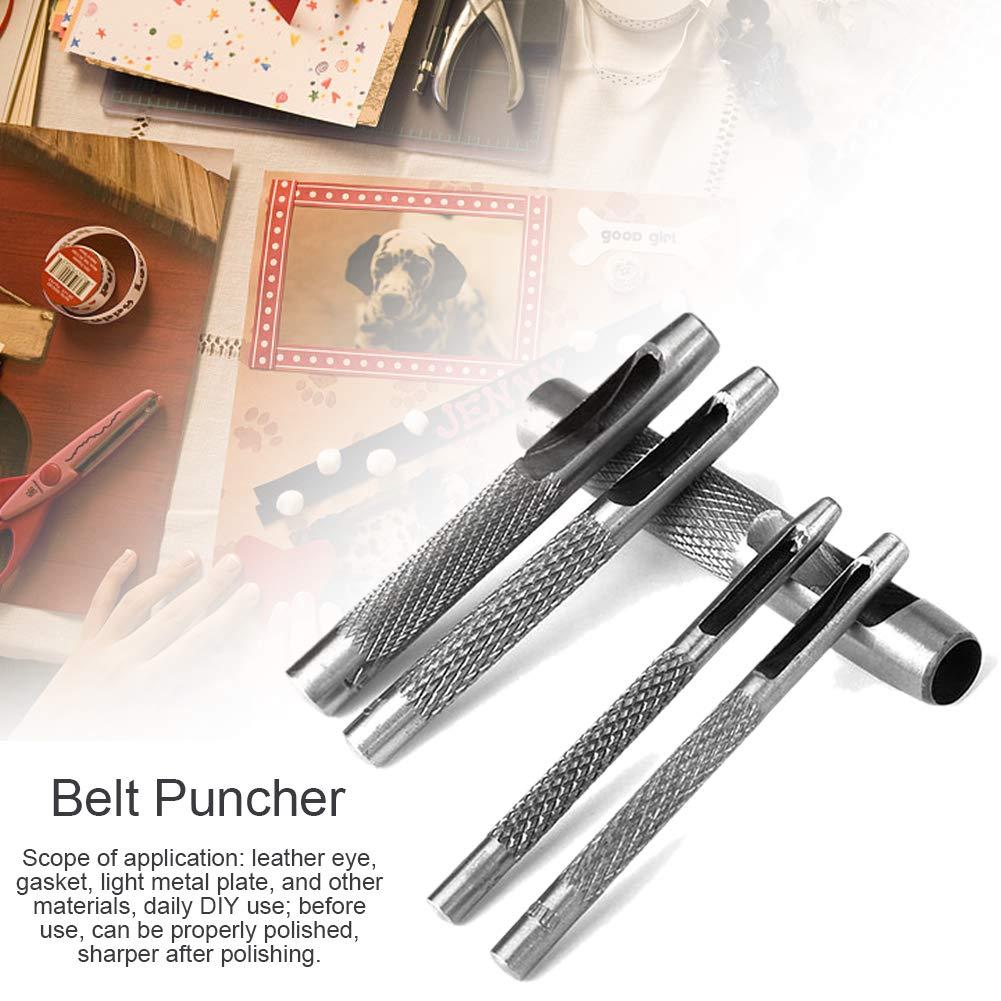 FABSELLER Juego de 6 perforadoras para cintur/ón de Piel con Agujeros Redondos