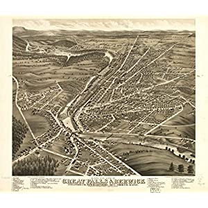 1877 map of Great Falls, Strafford, New Hampshire Birds eye view of Great Falls,