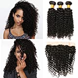 Curly Bundles And Kinky Curly Frontal Ear To Ear Closure 13×4 Free Part Pre Plucked And 3 Bundles Brazilian Hair Sew In Weave (14 16 18+10 Frontal) Review