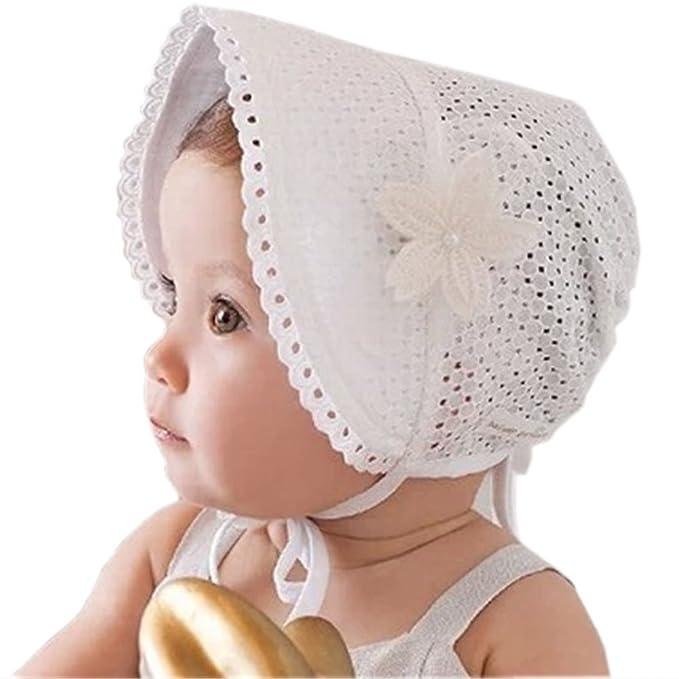 HBF Cappellino Neonata Elegante Accessori per Bambina Berretto Cotone  Bianco Cappello Bambina Vintage Adatto per Primavera 3b9dcc9a646a