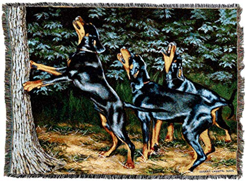 Doberman Pinscher Tapestry - Pure Country Weavers | Doberman Pinscher Night Song Woven Tapestry Blanket with Fringe Cotton USA 72x54