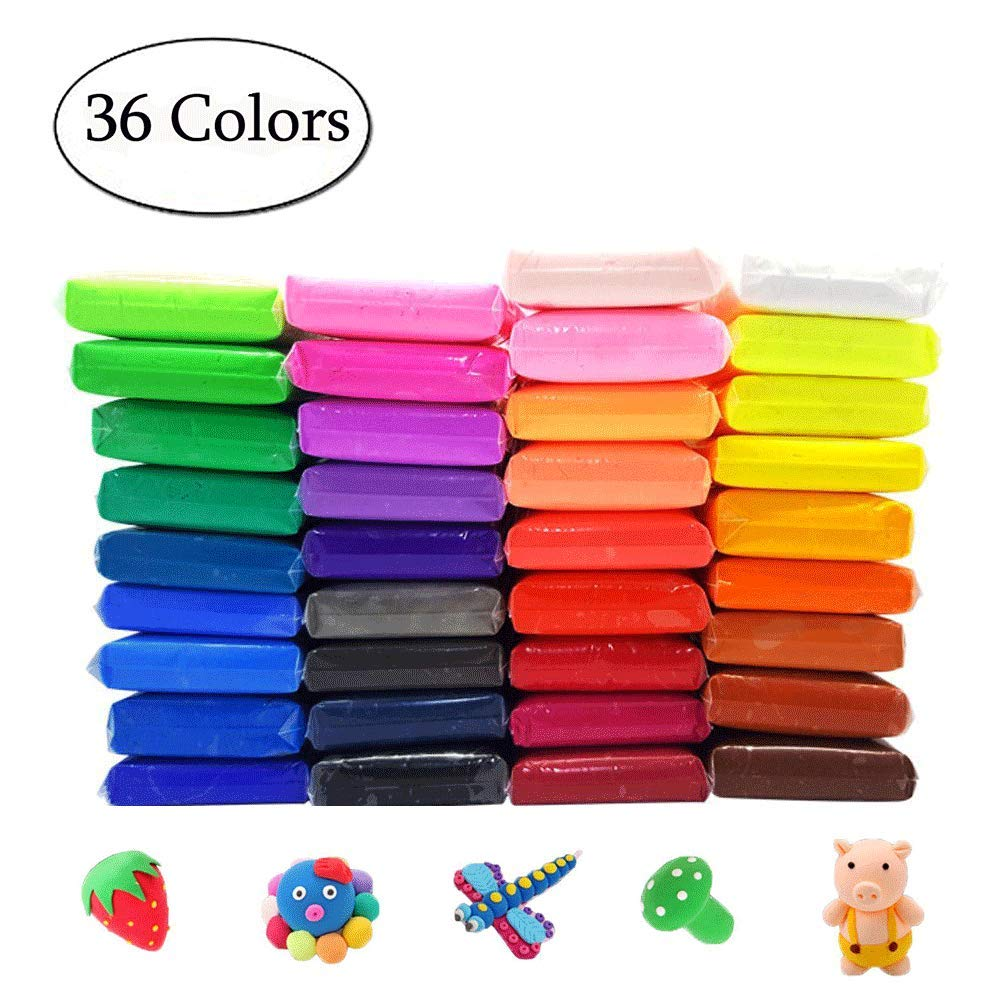 Simuer 36 Pack Modeling Clay Fluffy Slime, 36 Colors DIY Soft Magic Clay Craft Air Dry Plasticine Ultra-light Modeling Dough with Tools,Children Educational Toys & DIY Gifts