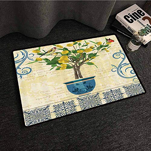 - Lemons Decor Welcome Door mat Lemon Tree Birds Traditional Tiles Paisley Monarch Butterfly Bird Vintage Style Floral Flowerpot Ceramic Vase Antifouling W30 xL39 Ivory Yellow Green Blue Navy