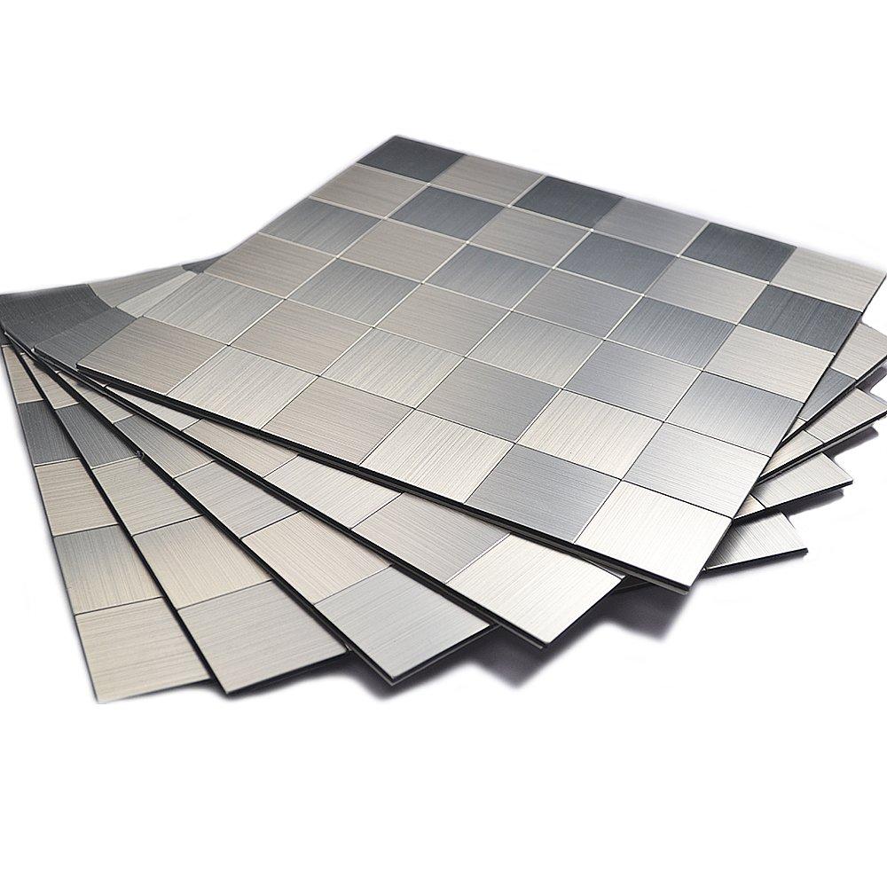 Amazon peel and stick mosaics kitchen tile for backsplash amazon peel and stick mosaics kitchen tile for backsplash12x12 inch brushed aluminum home kitchen dailygadgetfo Gallery