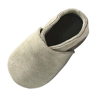 a1b48e6250582 Mejale Suède schlüpfen Chaussons en cuir doux chaussures bébé Mokassin  chausseres premiers pas(Beige