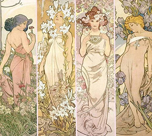 絵画風 壁紙ポスター (はがせるシール式) アルフォンス・ミュシャ 連作花4部作 4-flowers 1898年 アールヌーヴォー キャラクロ K-MCH-005BS1 (655mm×585mm) 建築用壁紙+耐候性塗料
