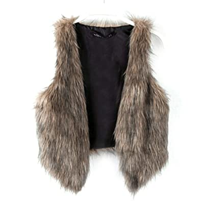 Dikoaina Fashion Women Faux Fur Waistcoat Short Vest Jacket Coat Sleeveless Outwear at Women's Coats Shop
