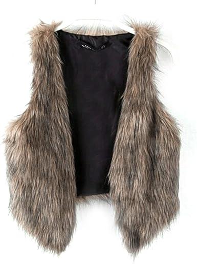 Dikoaina Fashion Women Faux Fur Waistcoat Short Vest Jacket Coat Sleeveless  Outwear at Amazon Women's Coats Shop