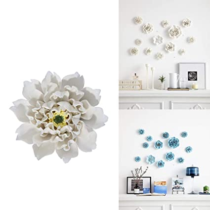 Alycaso Artificial Flowers Wall Decoration For Living Room Bedroom Hanging 3d Wall Art Ceramic Flower Pediments Sculpture White Sets H17