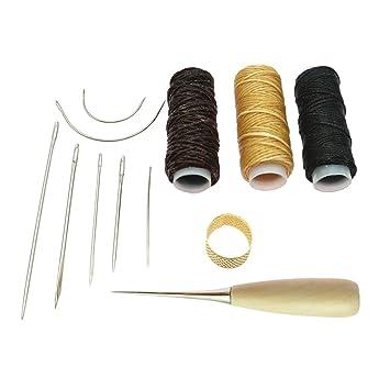Sharplace Kit 12x Accesorio de Cuero Hilo Punzón Lana Dedal Pines Costura Arte Favor Familiares Amigos: Amazon.es: Hogar