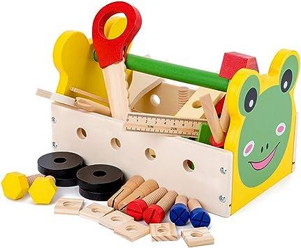 K9CK Herramientas Juguete, 37 Piezas Infantil Caja de Herramientas con Taladro/Atornillador Juegos de imitación Maletin Herramientas de Madera para niños 3 años: Amazon.es: Juguetes y juegos