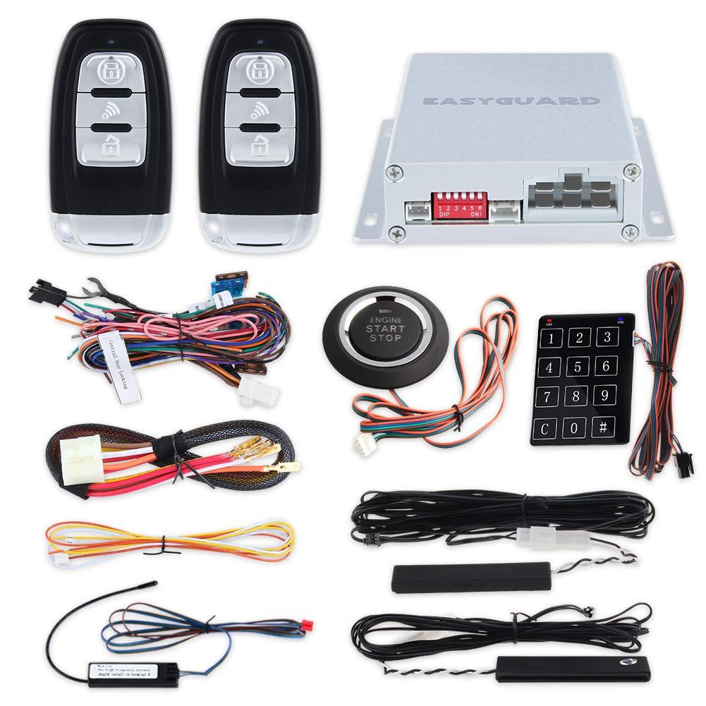 EASYGUARD EC002 Smart Key RFID PKE Car Alarm System Passive Keyless Entry Remote Engine Start Starter Push Start Button & Touch Password Entry Hopping Code