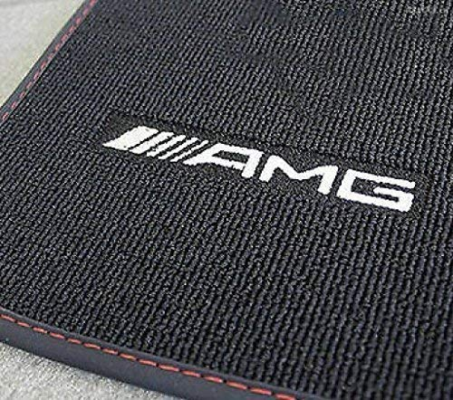 MERCEDES BENZ AMG GENUINE Set 4 pcs VELOUR FLOOR MATS BLACK WITH Rother ziernath/Edging w 176 A CLASS RIGHT - Hand Drive