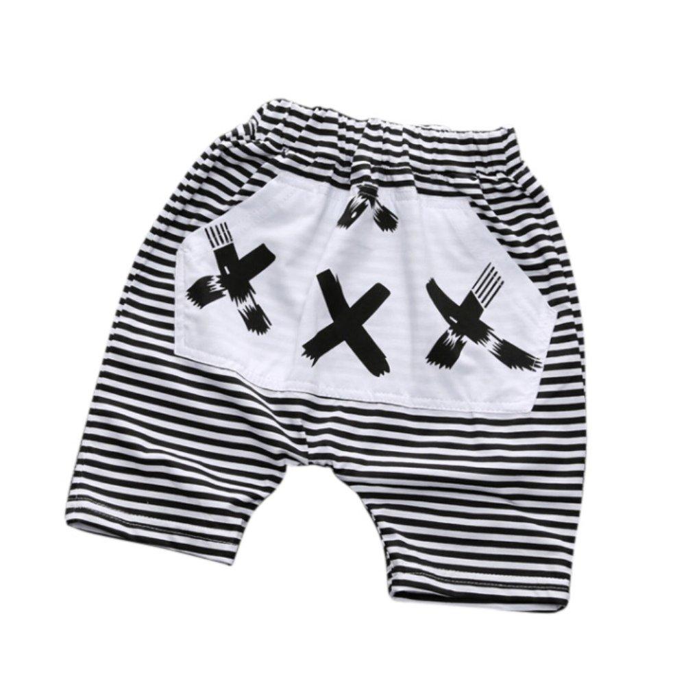 Minuya Shorts bébé garçon, Ceinture élastique Shorts De Coton Pour Enfants Garçons 1-5 Ans, Pantalon d'entraînement Sarouel Vêtements été