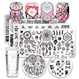 Born Pretty 6Pcs Nail Art Stamping Plates Set Valentine's Day Dream Datcher Manicure Print Tool with 1Pc Jelly Stamper and Scraper