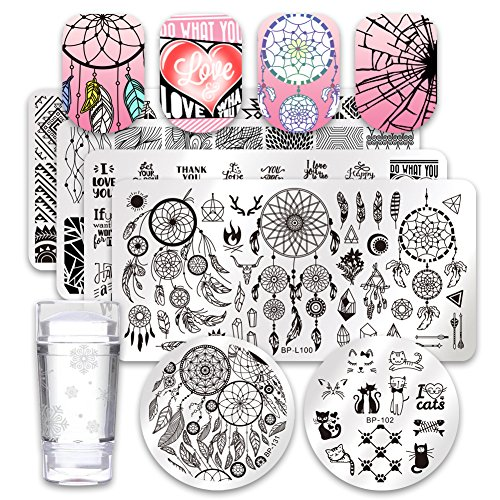Born Pretty 6Pcs Nail Art Stamping Plates Set Valentine's Day Dream-Catcher manicuring Print Tool with 1Pc Jelly Stamper and Scraper -