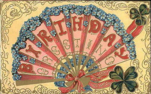 Birthday Greeting Fans Original Vintage Postcard