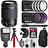 Tamron 18-200mm Di II VC Lens for Canon + Flash + UV-CPL-FLD Filters + Macro Filter Kit + 72 Monopod + Lens Hood + 16GB Class 10 + Backpack + Spider Tripod + Wrist Strap - International Version
