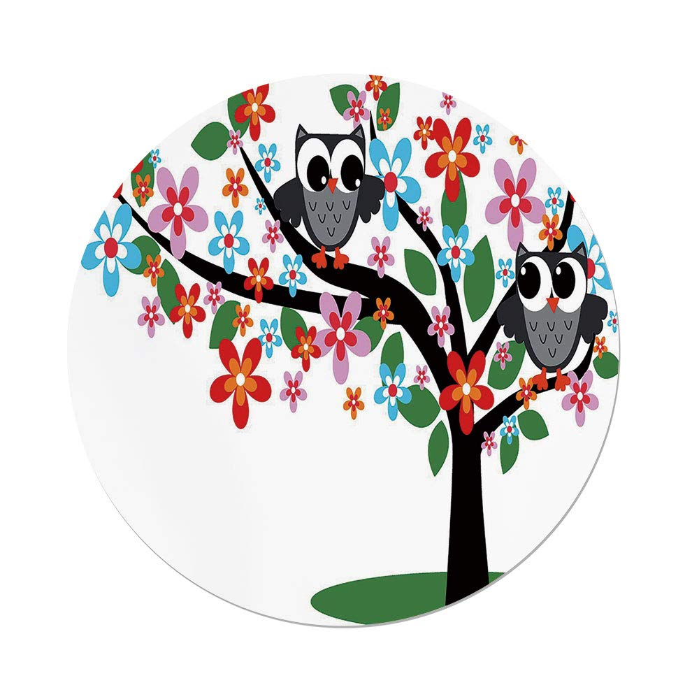 Polyester Round Tablecloth,Nursery,Two Flirty Owls on a Tree with Colorful Flowers Adorable Birdies Summer Nature Decorative,Multicolor,Dining Room Kitchen Picnic Table Cloth Cover,for Outdoor Indoor