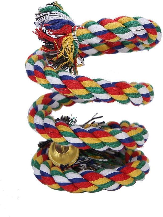 Cinnyi Juguete de Cuerda de algodón de pájaro, Cuerda de algodón Espiral Colorida Arnés de pie de pájaro Masticar Juguetes de Cuerda de Escalada con Campana