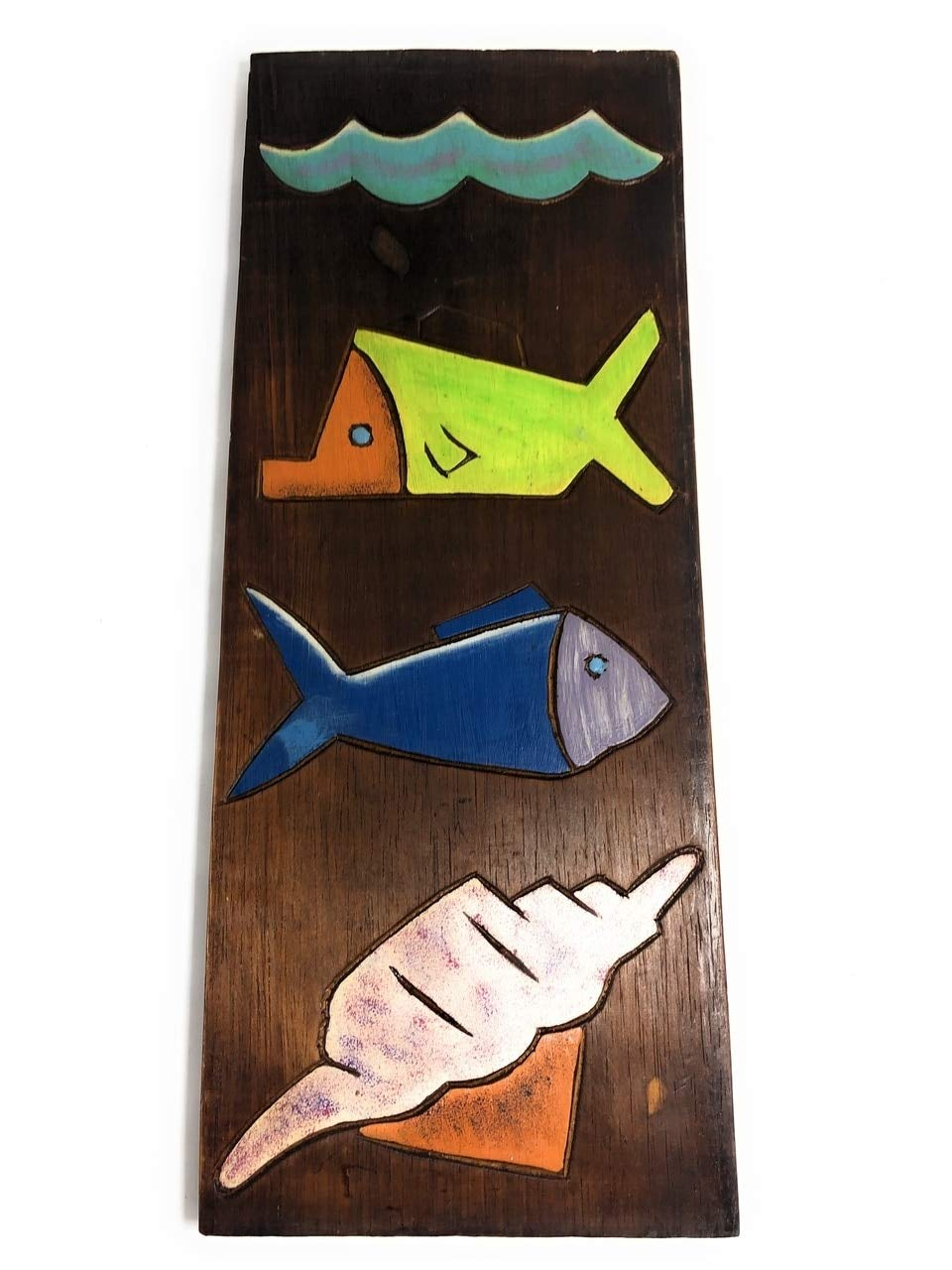 TikiMaster Fish & Seashells Relief 20'' X 8'' - Wall Art Wood Panel | #dpt515950