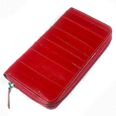 Women/'s Genuine Leather Long Zipper Red Wallet