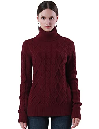 40bae2081122 PrettyGuide Women s Turtleneck Sweater Long Sleeve Cable Knit Sweater  Pullover Tops M Burgundy