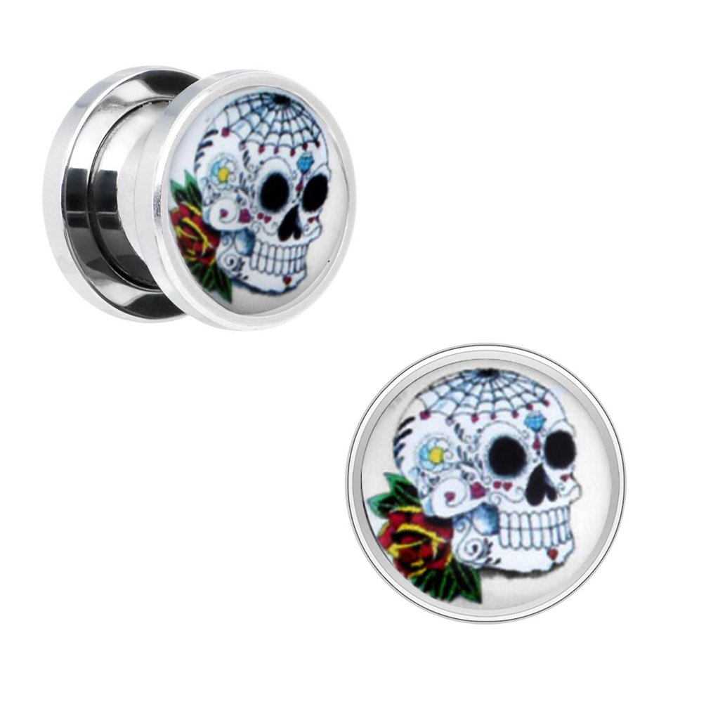 BodyJ4You Skull Rose Screw Fit Plugs Stainless Steel Double Flare Plugs 2G-00G (2 Pieces) PL6117-0G