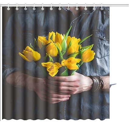 amazon com muatoo shower curtain man holding yellow tulips gift