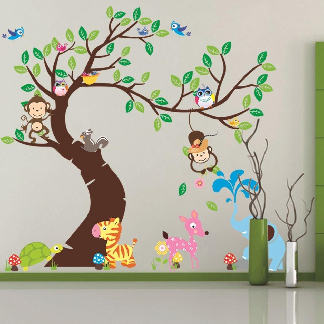 Suyunyuan DIY Tree And Monkey wall sticker children room background wall sticker decoration Nursery Daycare Baby Room Decor PVC