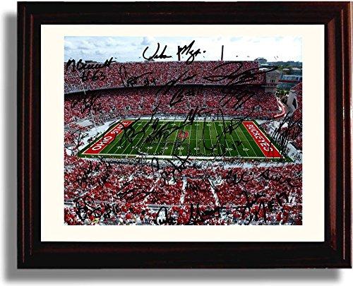 (Framed 2014 Ohio State The Horseshoe Championship Team Autograph Replica Print)