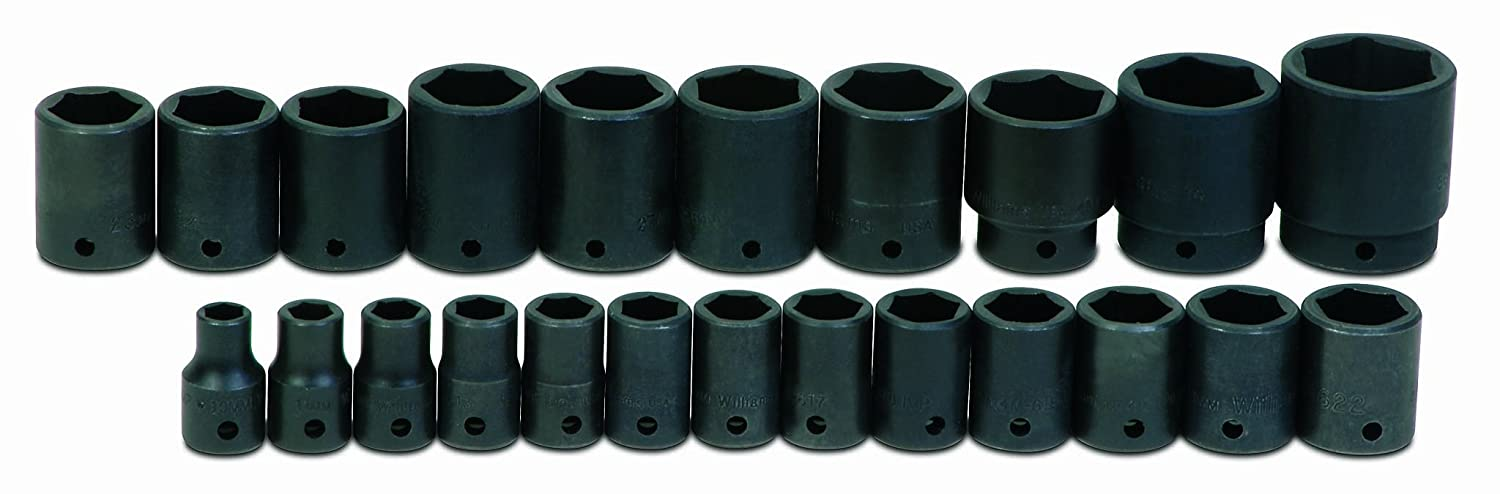 JH Williams MS-4-23RC 23-Piece 1/2-Inch Drive Metric Shallow 6 Point Impact Socket Set JH Williams Tool Group