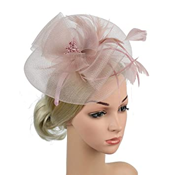58e8581b9 Amazon.com: Tuscom Bridal Wedding Fascinators Hat Flower Mesh ...