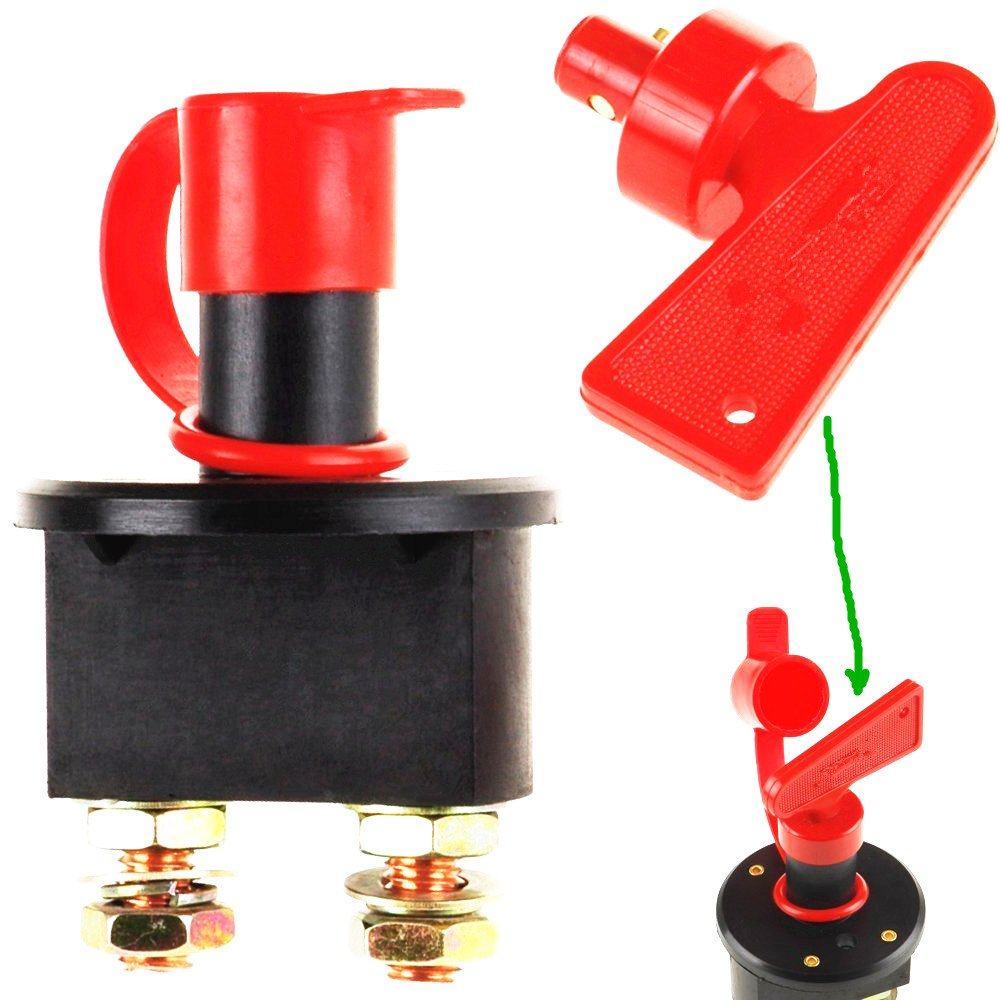 Type C 1pcs Qiorange Car Battery Isolator Cut Off Switch 12v 24v Max 500A With Removable Key