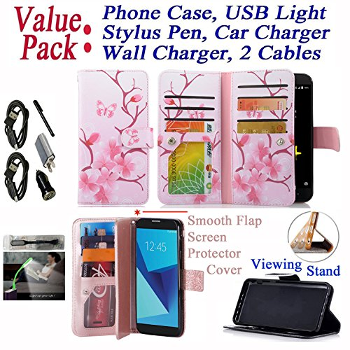 - Value Pack + for ZTE BLADE Z MAX Zmax Pro 2 SEQUOIA Phone Case Smooth Screen Protector Flap Cover Wallet Extra Pocket Folder Hybrid Purse (Butterfly Cherry)