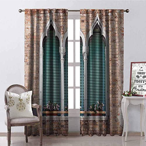 Tapesly Venice Shading Insulated Curtain Traditional Ancient Gothic Style Windows with Flower Pots on Brick Wall Soundproof Shade W100 x L84 Inch Pale Brown White Blue
