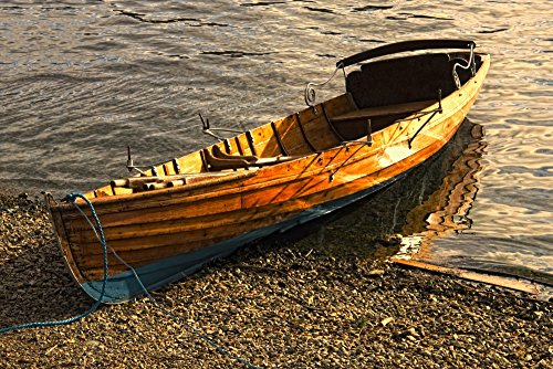 Boat On Shore, Keswick, Cumbria, England Poster Print (17 x 11) ()