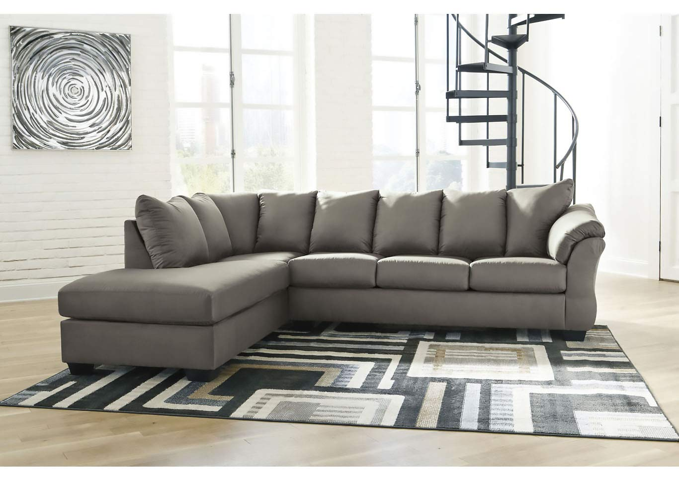Magnificent Amazon Com Darcy Cobble Stone Sectional W Left Facing Machost Co Dining Chair Design Ideas Machostcouk