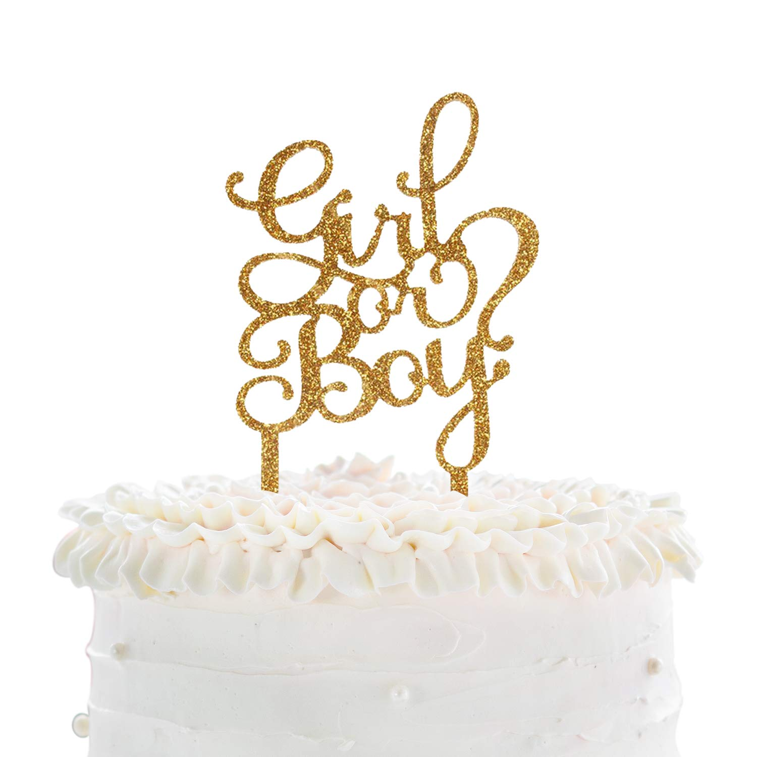 Hatcher lee Girl or Boy Cake Topper Gold Acrylic Baby Shower Party Decoration Sign 1