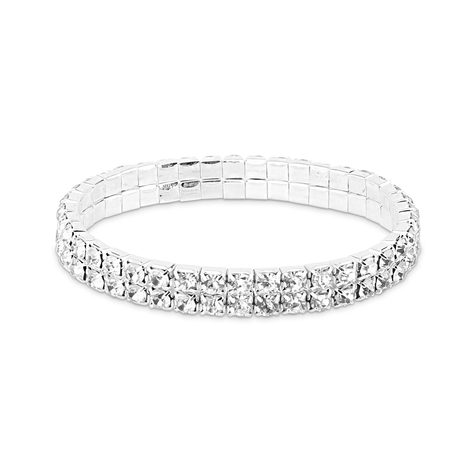 Bracelet for Women,UHIBROS Multicolor Crystal Zircon Bracelet Adjustable Fashion Braiding Bangle Twisted Mesh Bracelet (2 Row Sliver)