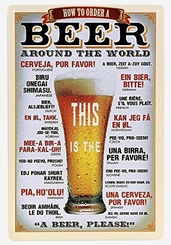 ERLOOD How to Order a Beer Around the World Metal tin Sign , 12