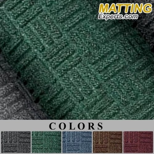 Entrance Runner Mat Water Absorbing Rug Carpet-like Crush Proof Parquet Pattern Trap Slip-Resistant 1/4'' thick for Entrance-ways Hallways Lobbies Hotel Office S054 (4'x6', Hunter Green)