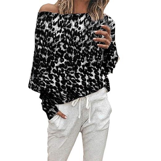 f983e5ff1d727 HULKAY Sexy Leopard Print Tops for Women Long Sleeve Off Shoulder Shirt  Warp Crop Blouse Boho
