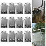 Reelva 12x Stainless Steel Glass Clamp Bracket Holder Flat Window Balustrade 304# (8-10mm) by Reelva