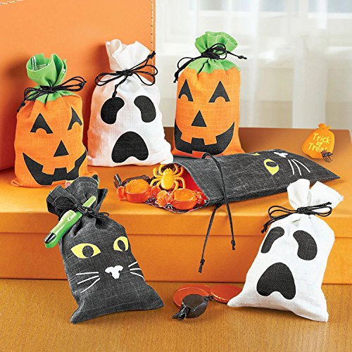 (Halloween Candy Bags Trick Or Treat Bags Sweet Goody Candy Gift Bags Drawstring Gift Sacks for Kids by Yunhigh - Black)