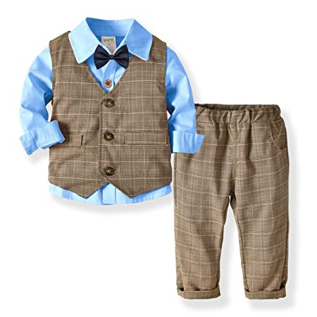 14cdbb2f18ff3a Weentop Kids Boys Clothes Sets Gray Shirt And Vest Trousers Clothes Suit  Gentleman Outfits For 2 To 5 Age Little Boy (Color : Blue, ...