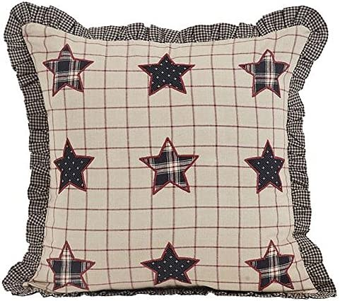 VHC Brands Bingham Star Pillow Fabric with Applique Stars 16×16